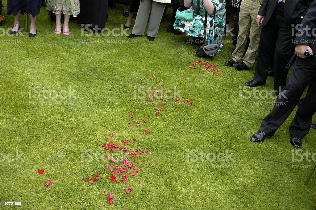 Wedding ceremony being held outdoors, audience, crowd, UK stock photo