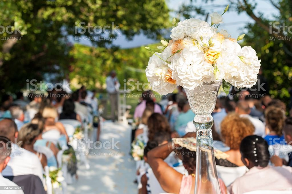 Wedding ceremony & flower decoration stock photo