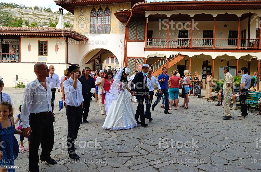 Wedding ceremony in the Khan's Palace, Bakhchisaray stock photo