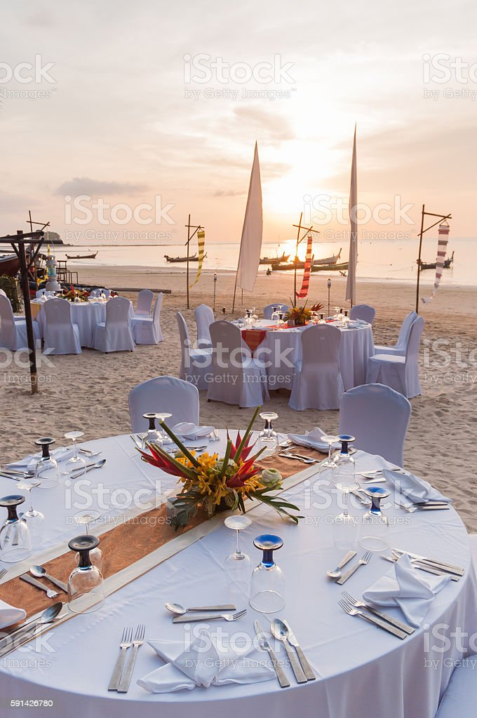 Wedding ceremony place on a tropical beach in Thailand stock photo