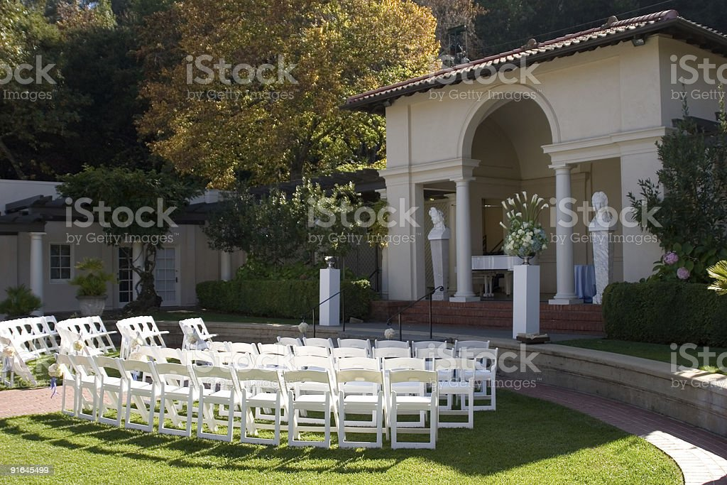 Wedding Ceremony Setup in an Amphitheater royalty-free stock photo
