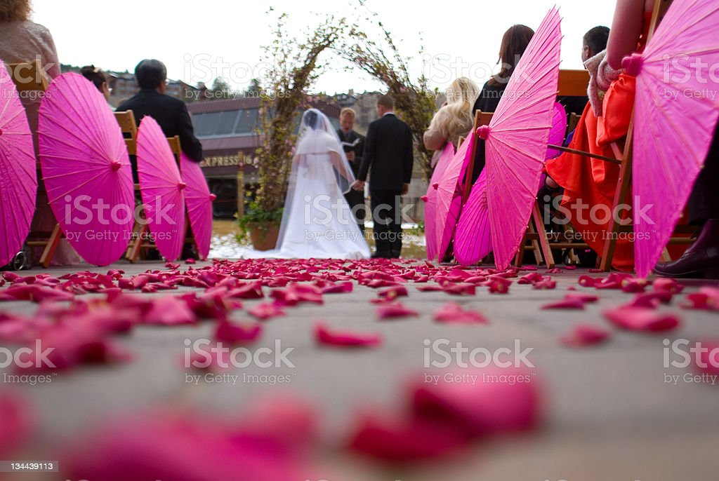 Wedding Ceremony with Flower Petals royalty-free stock photo