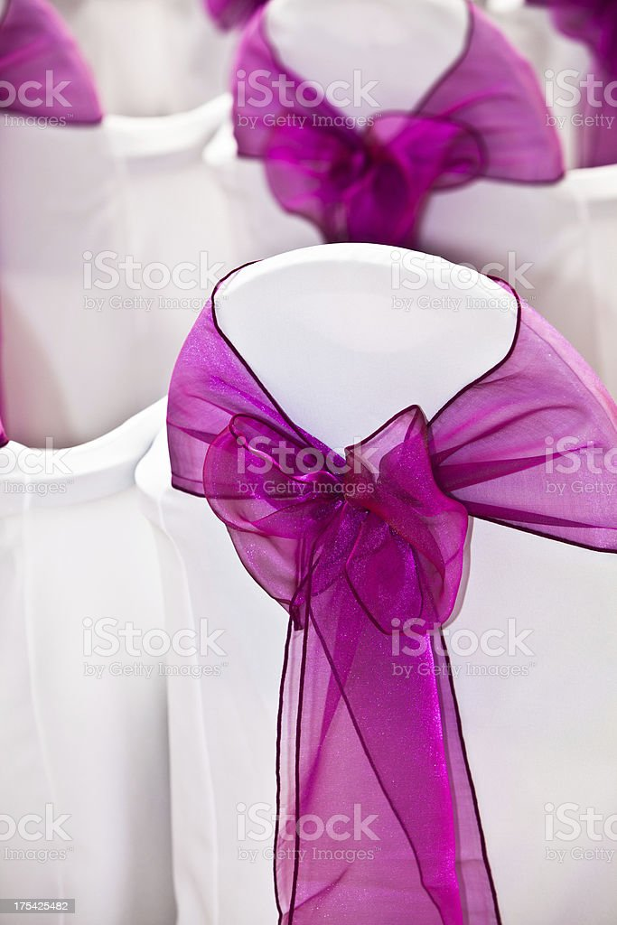 Wedding:  chair decorations stock photo