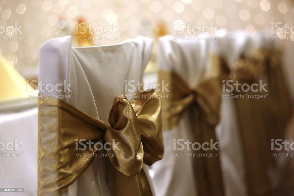 Wedding chairs with bokeh stock photo