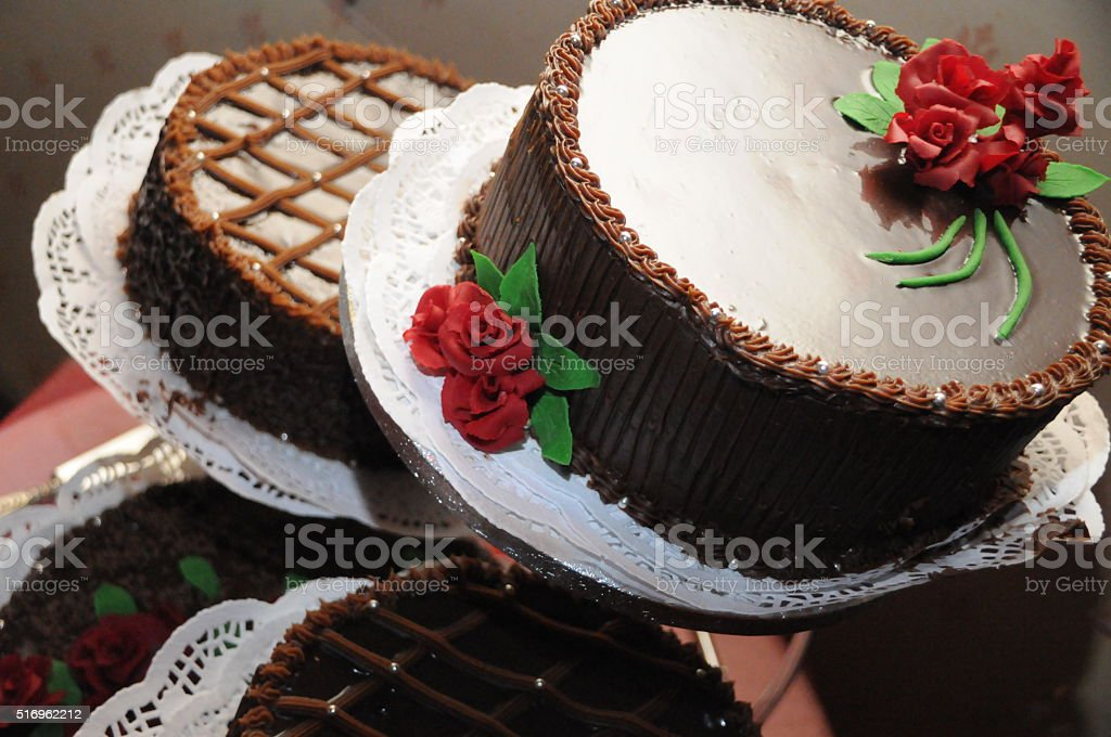 Wedding Chocolate cake stock photo