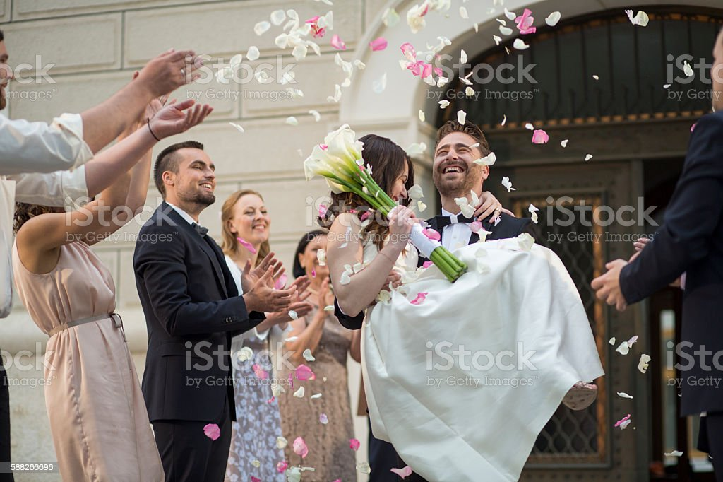 Wedding confetti bride and groom stock photo