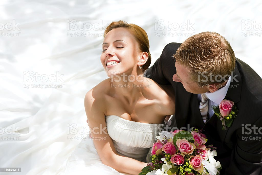 Wedding couple - bride and groom stock photo