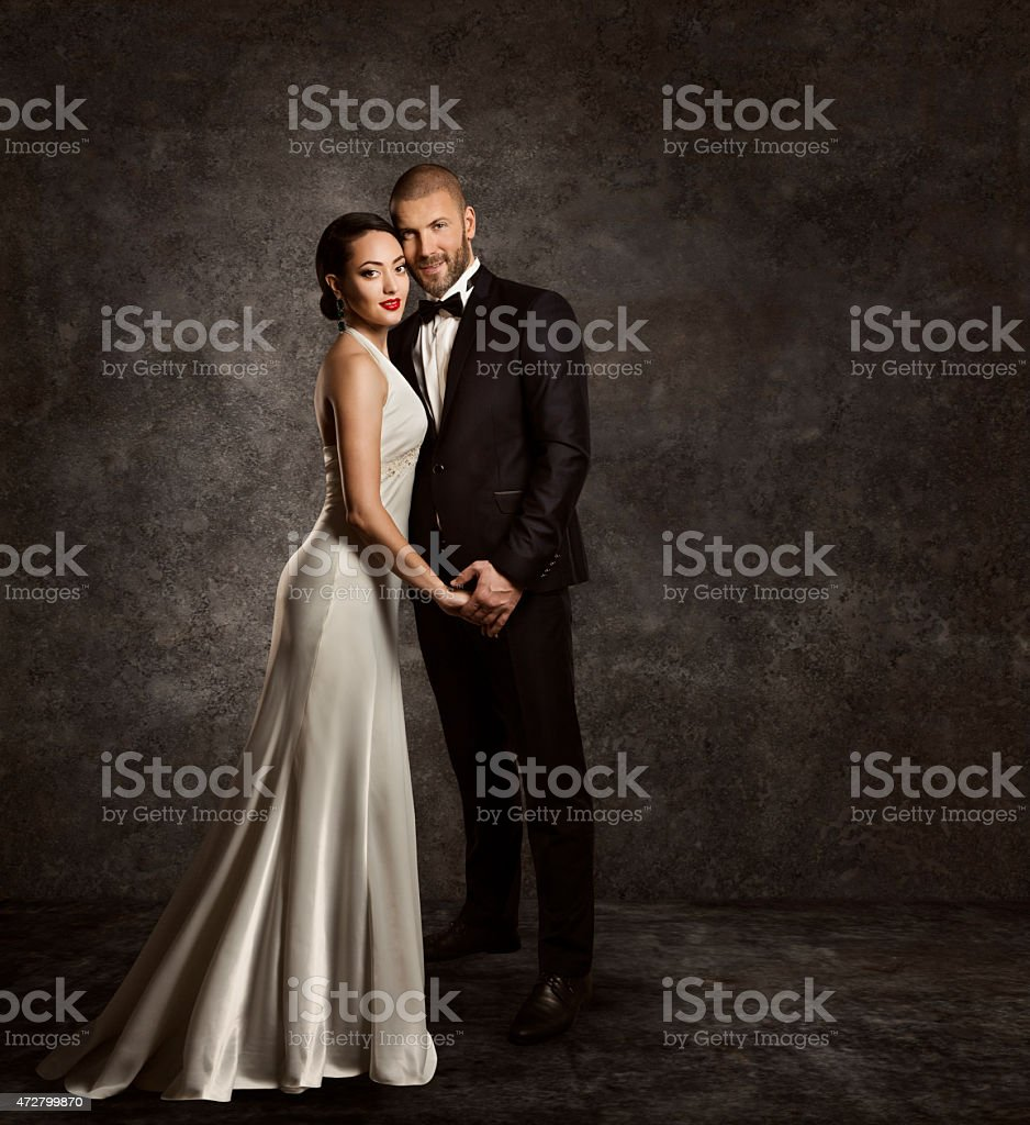 Wedding Couple, Bride Groom Fashion Portrait, Elegant Suit, Silk Dress stock photo