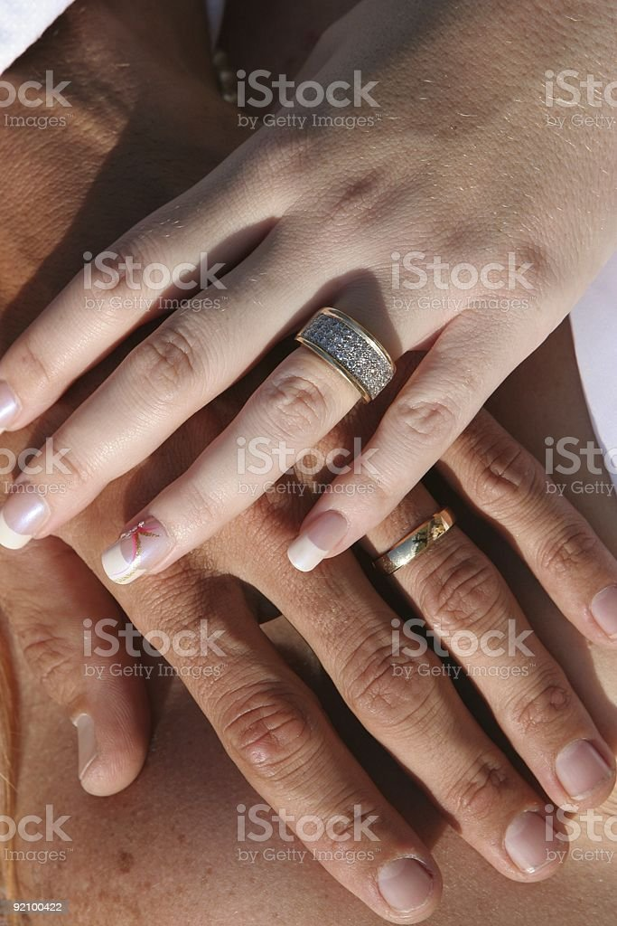 Wedding Couple - Hands and Rings stock photo