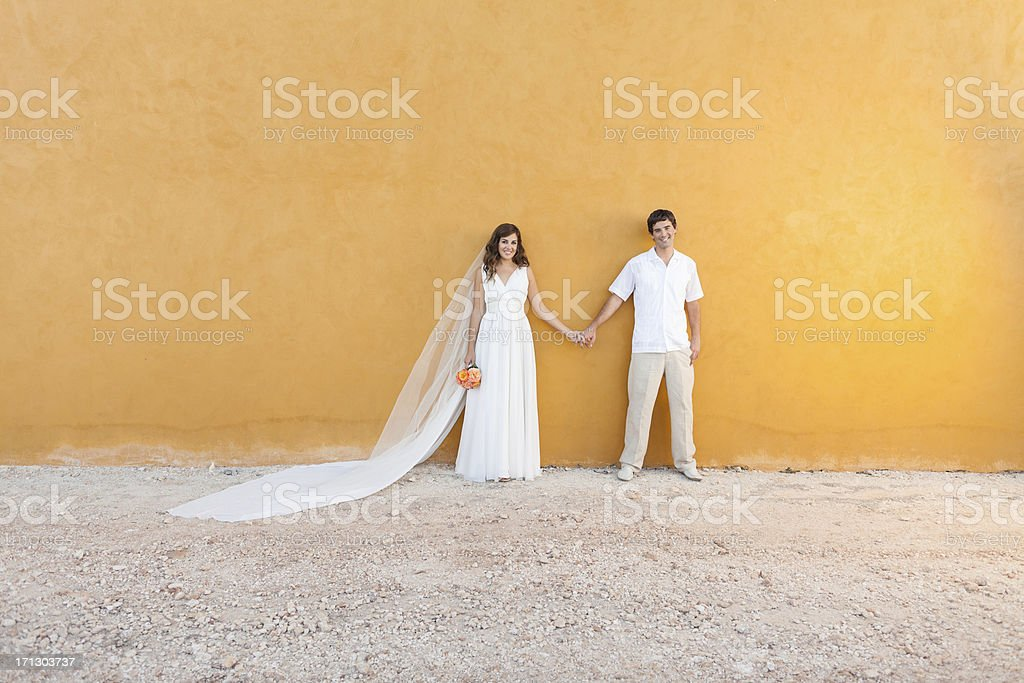 Wedding couple holding hands royalty-free stock photo