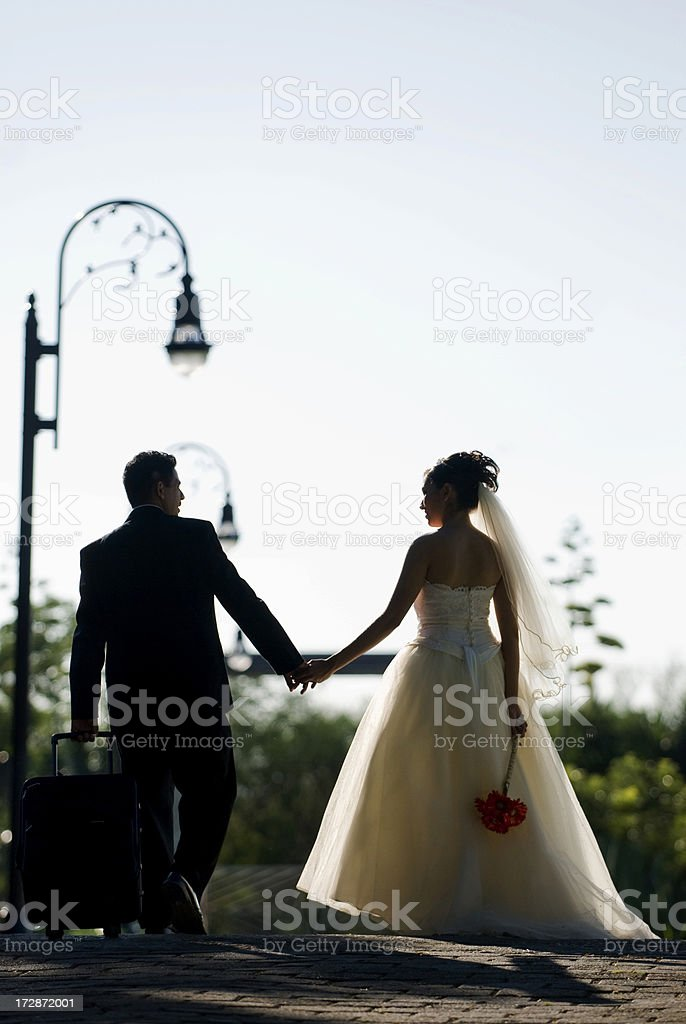 wedding couple holding hands royalty-free stock photo