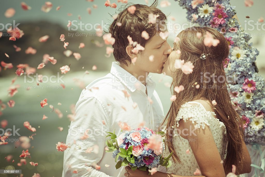 wedding couple just married stock photo