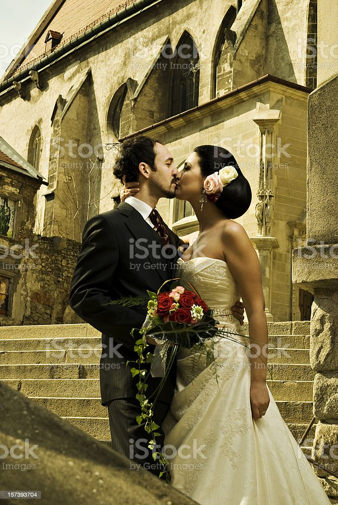 Wedding couple kissing. royalty-free stock photo
