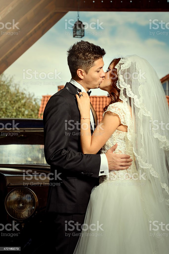 wedding couple kissing royalty-free stock photo