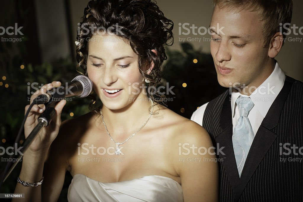 Wedding Couple making a speech royalty-free stock photo