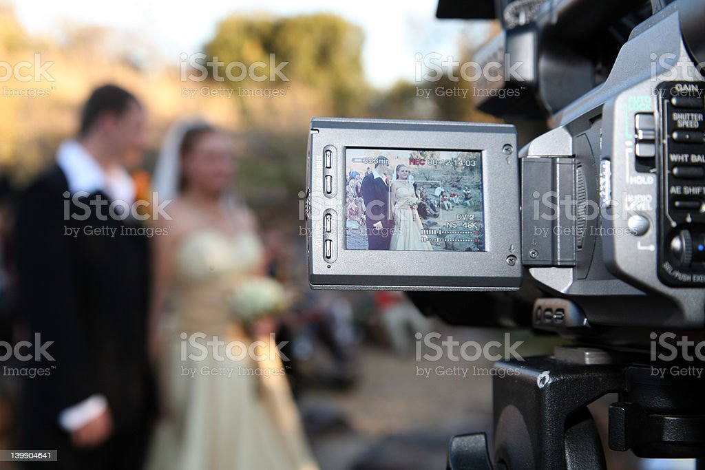 Wedding Couple on camera royalty-free stock photo