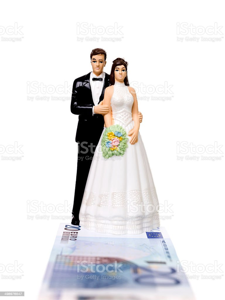 Wedding couple standing on a Euro Bank Note royalty-free stock photo