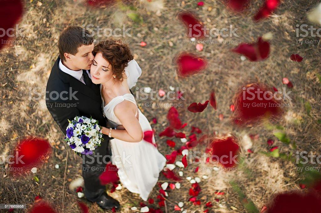 Wedding couple under a rain of rose petals. stock photo