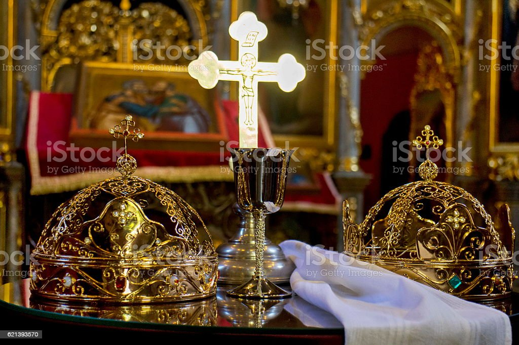 Wedding crowns in Orthodox church stock photo