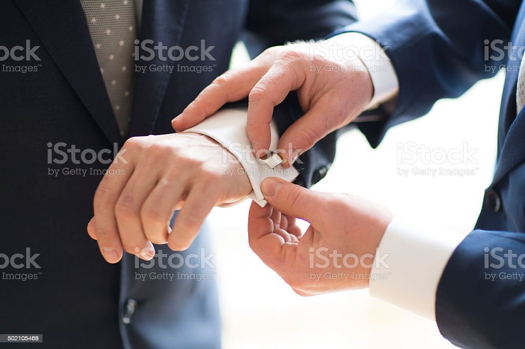 Wedding cufflinks stock photo