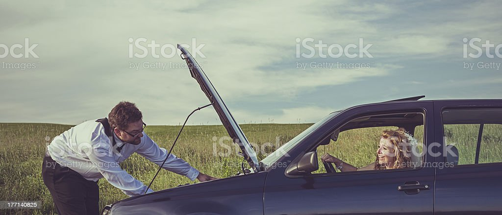 Wedding Day Car Troubles royalty-free stock photo