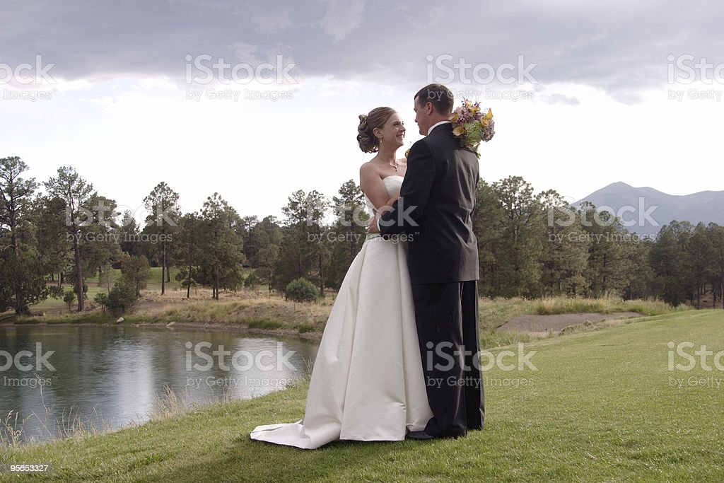 Wedding day photos of a young couple. royalty-free stock photo
