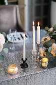 Wedding decor.  interior. Festive . The burning candles on a table.