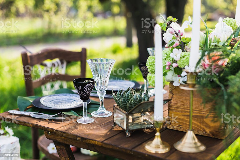 Wedding decor. Table for the newlyweds stock photo