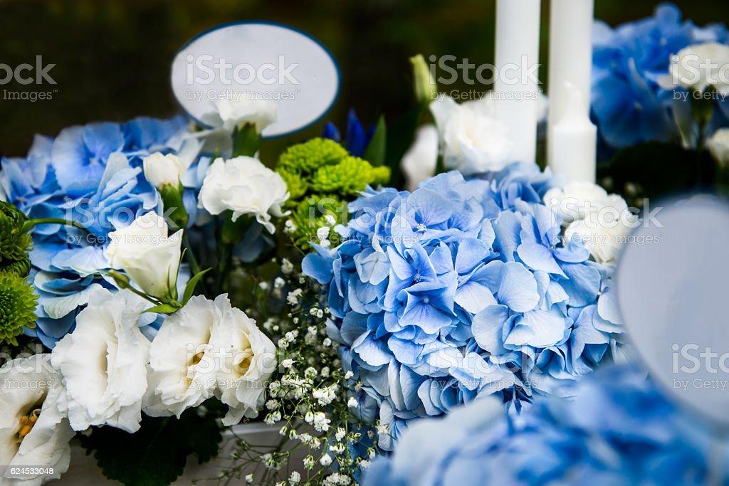 Wedding Decor with Beautiful Flowers stock photo