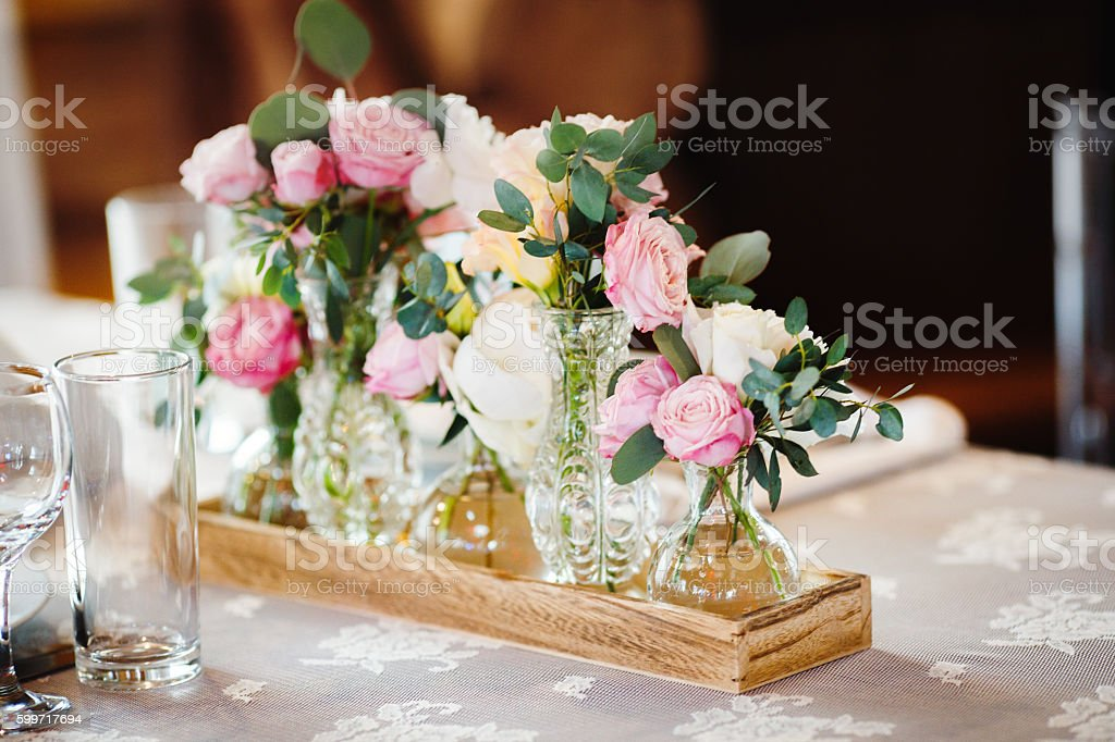 wedding decor with pink peonies and roses stock photo