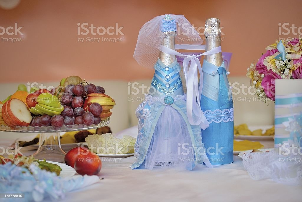 Wedding decorated bottles of champagne royalty-free stock photo