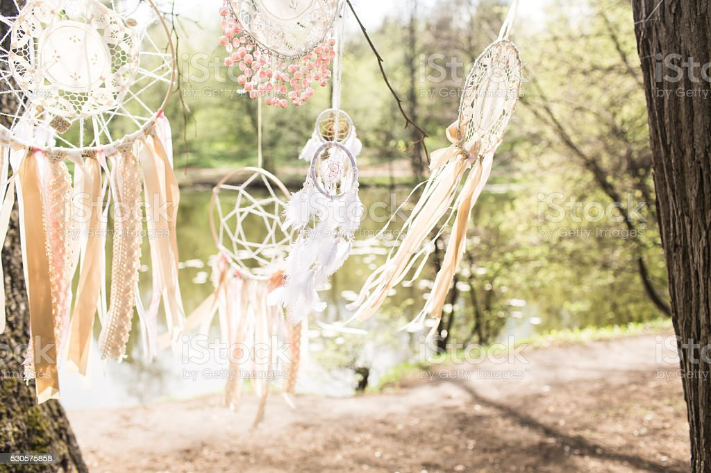 Wedding decoration: Dream catchers stock photo