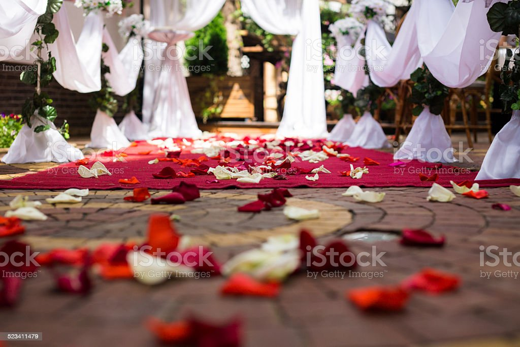 wedding decoration with rose petals royalty-free stock photo