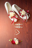Wedding details. Bouquet and accessories of bride  groom