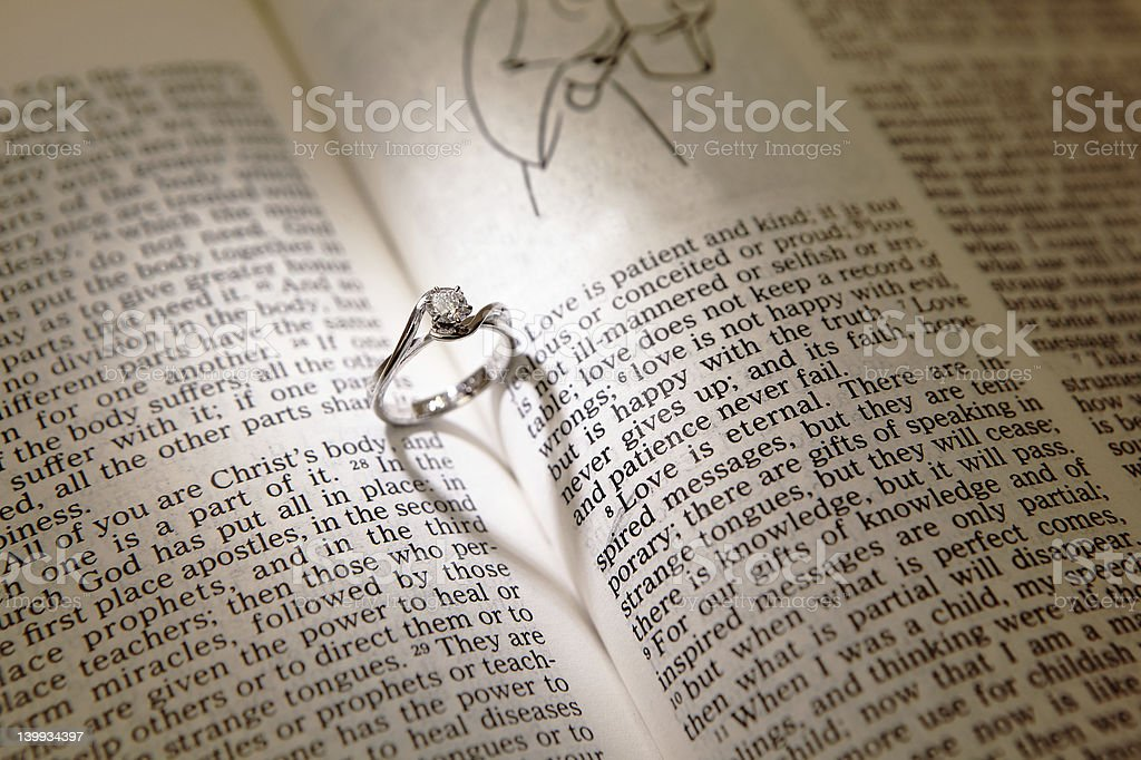 wedding diamond rings on a bible royalty-free stock photo