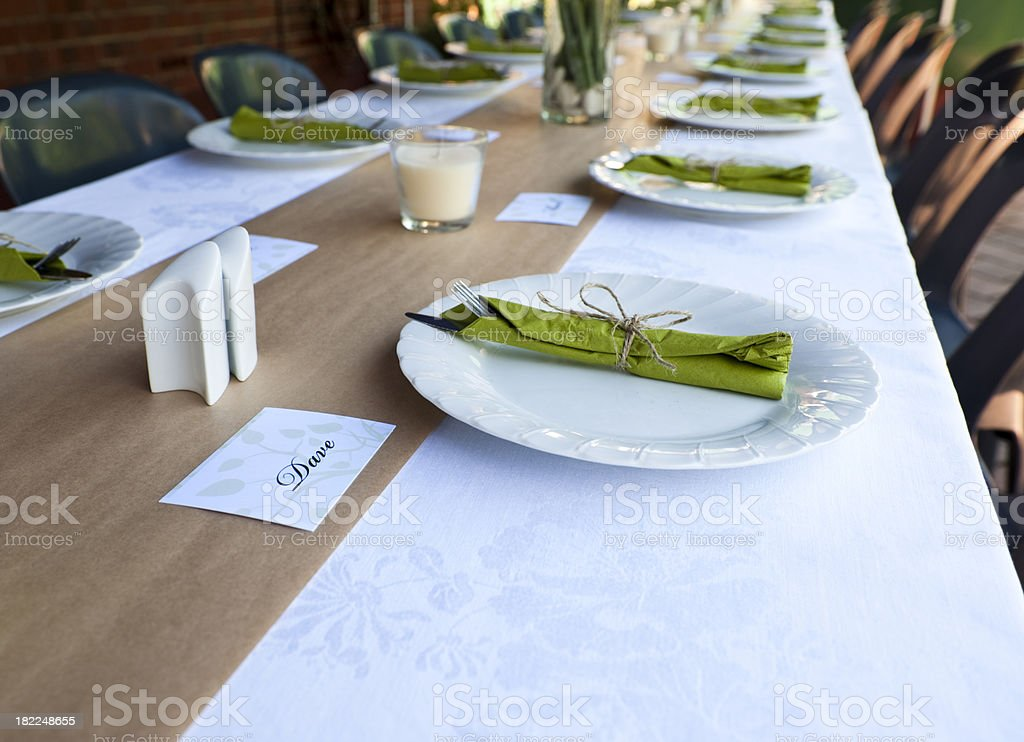 Wedding dinner setting casual name cards outdoors royalty-free stock photo
