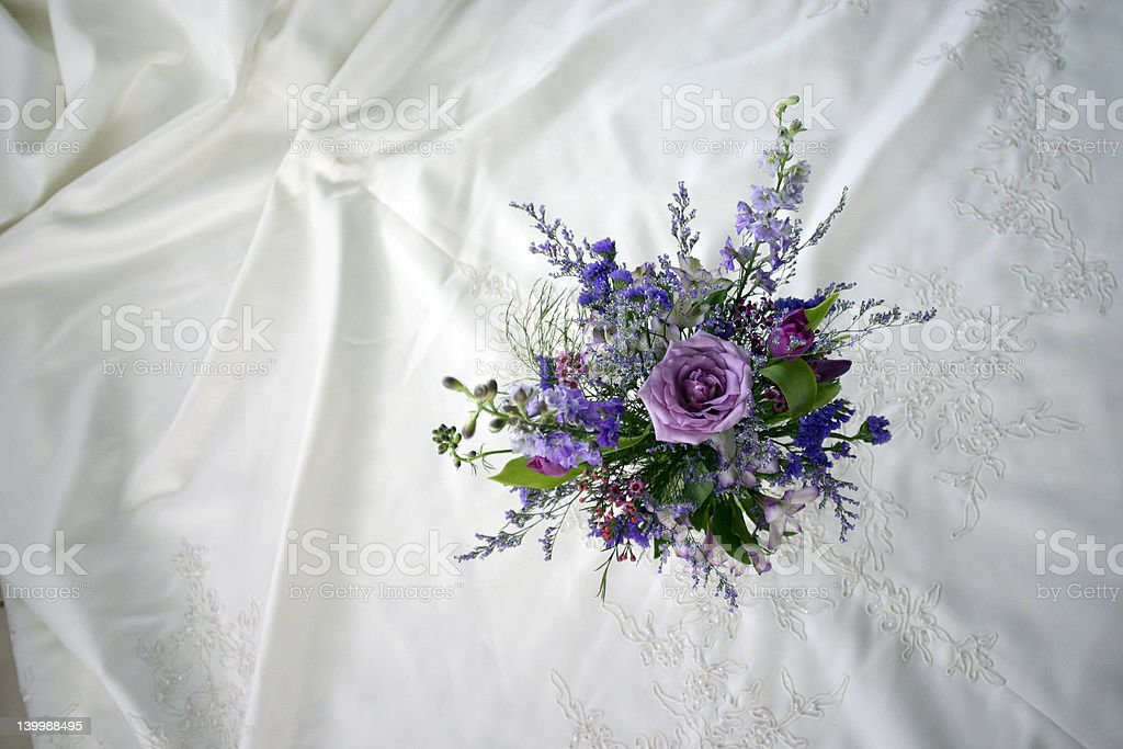 Wedding Dress and Flowers royalty-free stock photo
