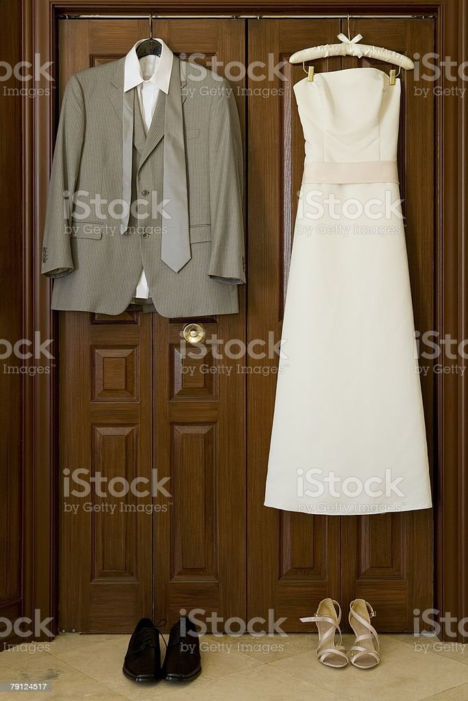 Wedding dress and suit royalty-free stock photo