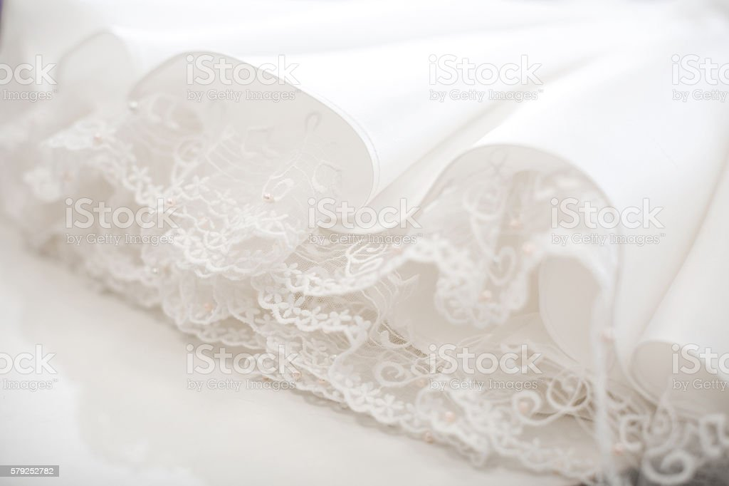 wedding dress close up. stock photo