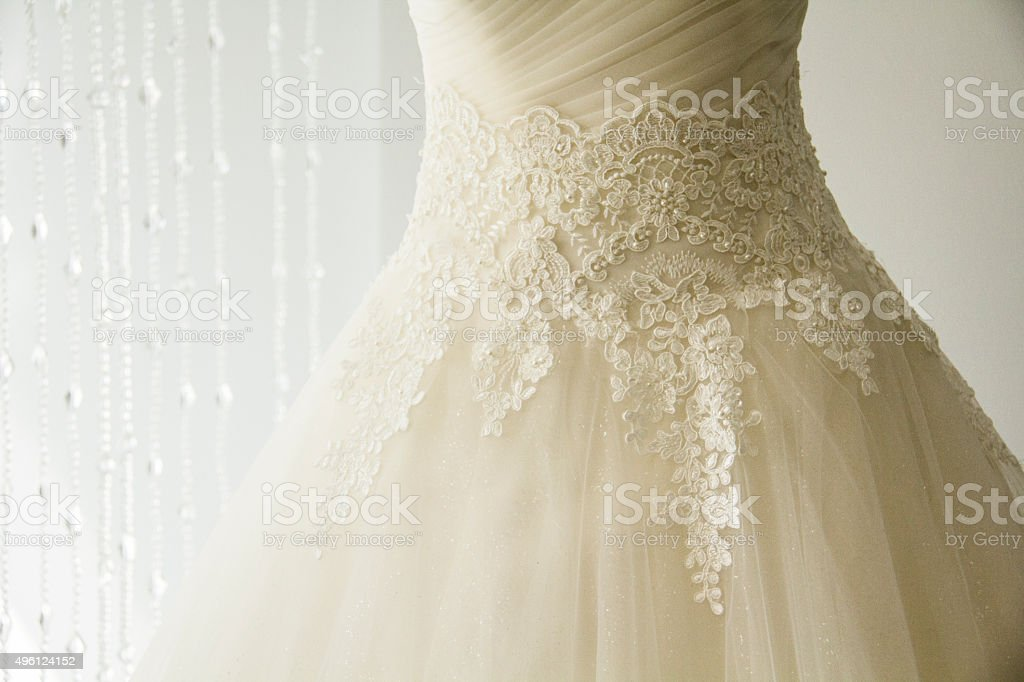 Wedding dress detail. stock photo