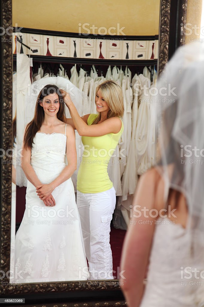 Wedding Dress In The Mirror royalty-free stock photo