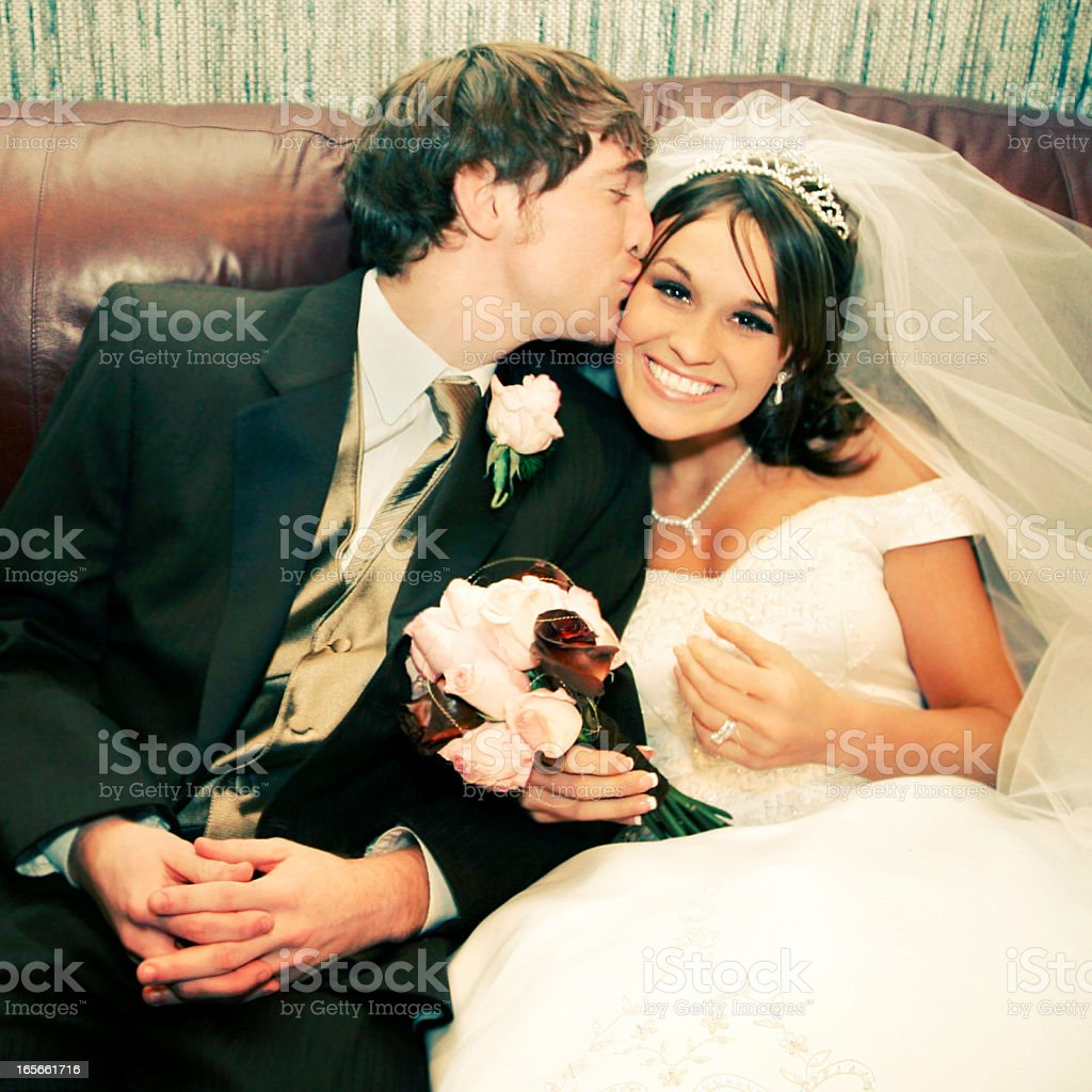 Wedding Dress Kissing royalty-free stock photo