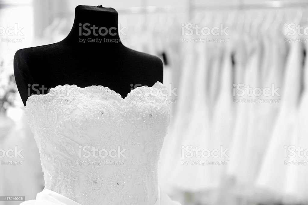 Wedding dress on mannequin stock photo