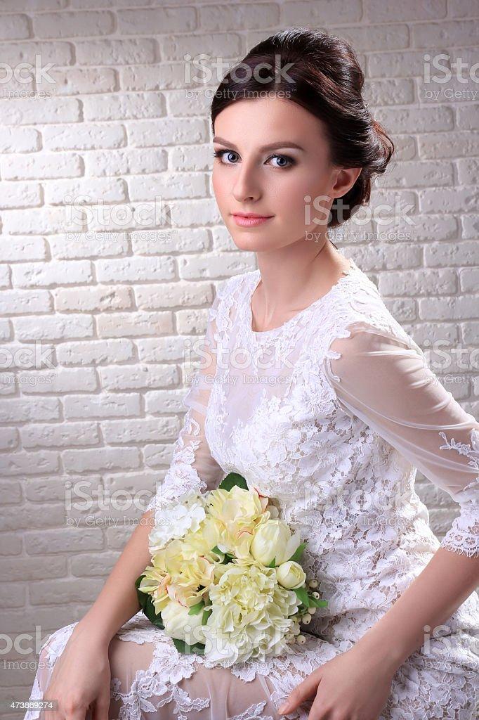 Wedding dress. Portrait of the bride. royalty-free stock photo
