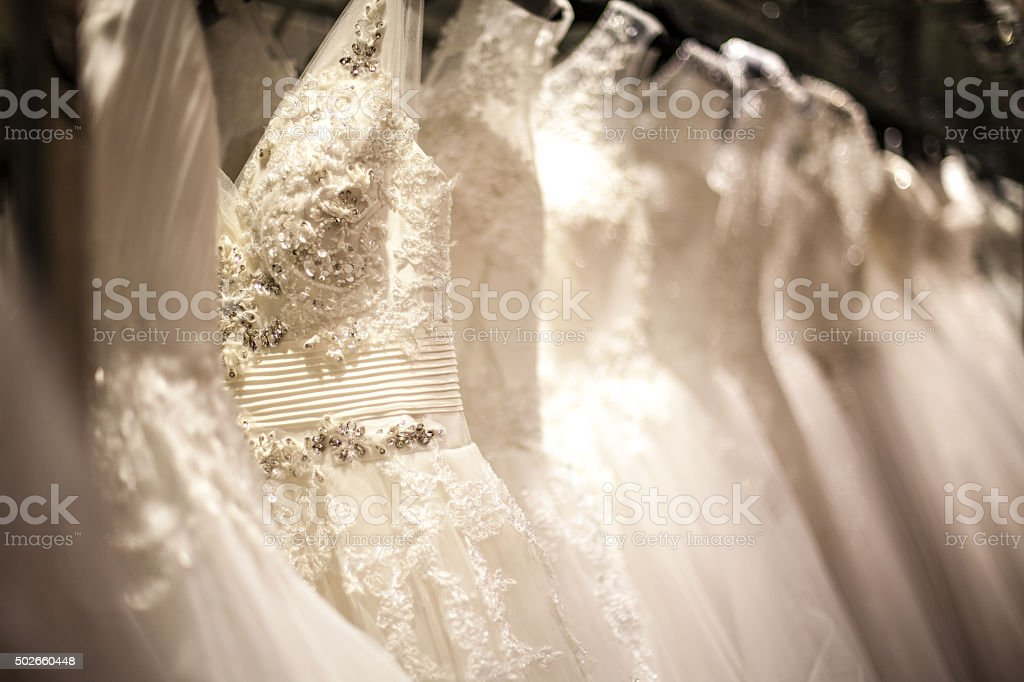 Wedding Dress Rack stock photo