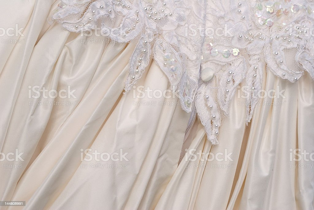 wedding dress - rear view detail stock photo
