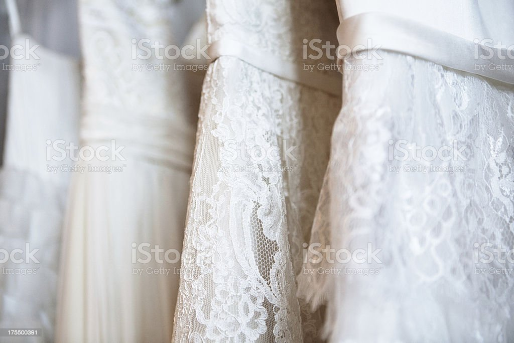 Wedding Dress Selection on Hangers stock photo