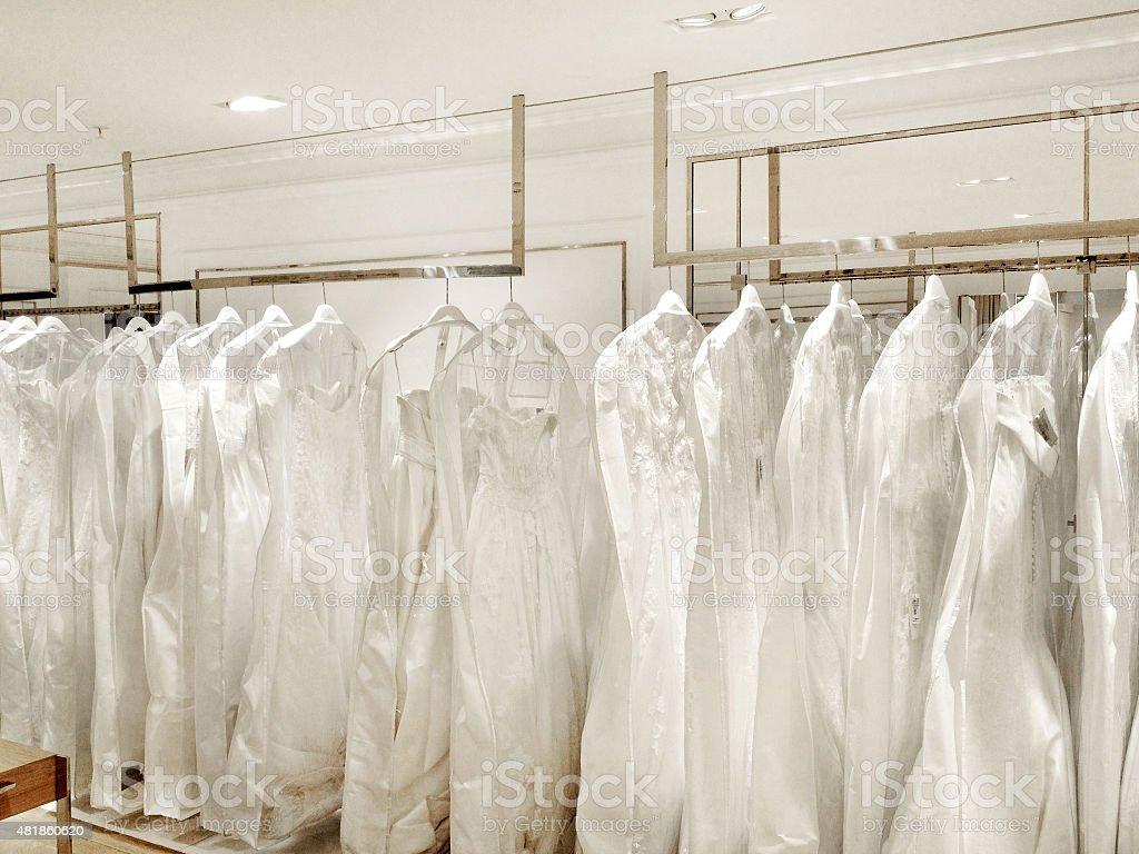 Wedding Dress Store stock photo