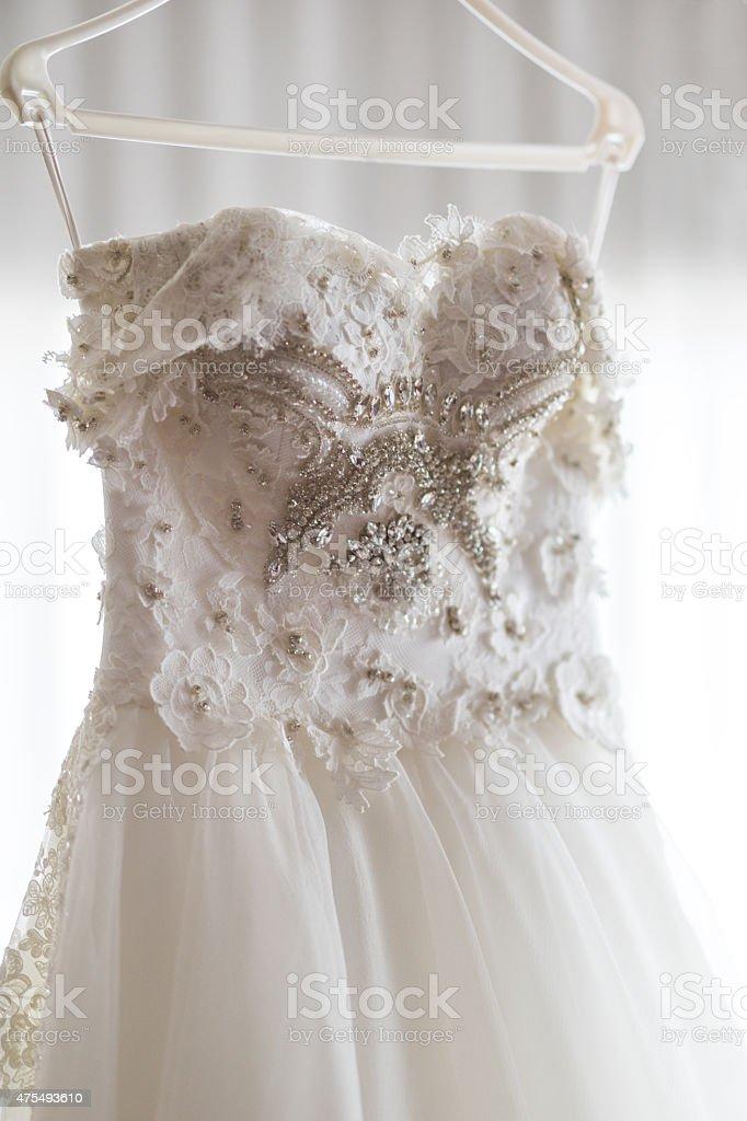 Wedding dress with beads stock photo