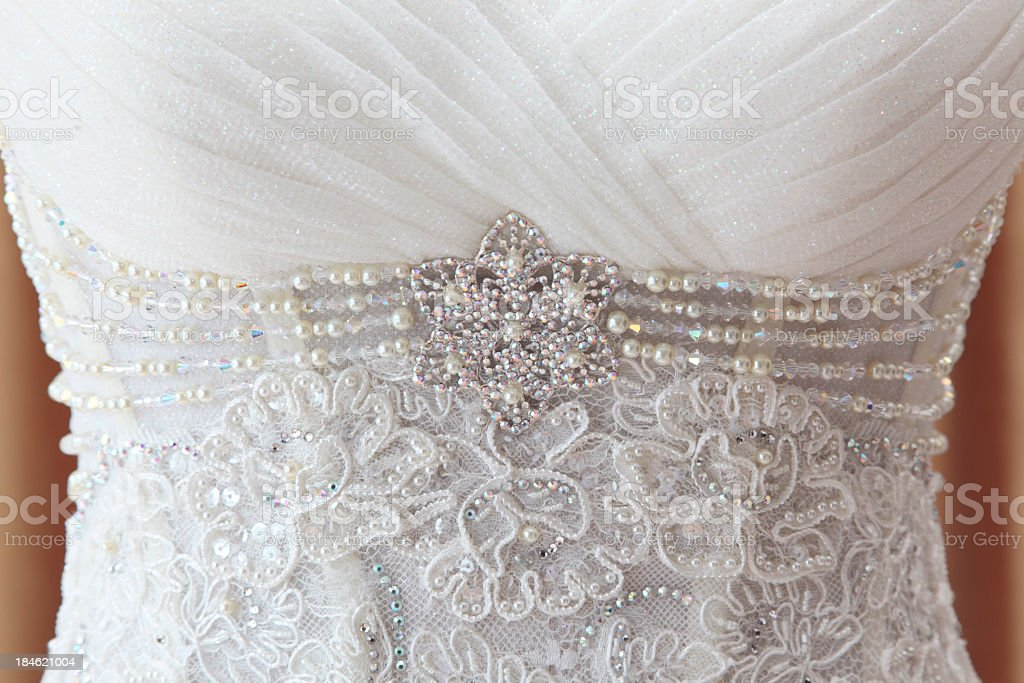 A wedding dress with immense detail  stock photo